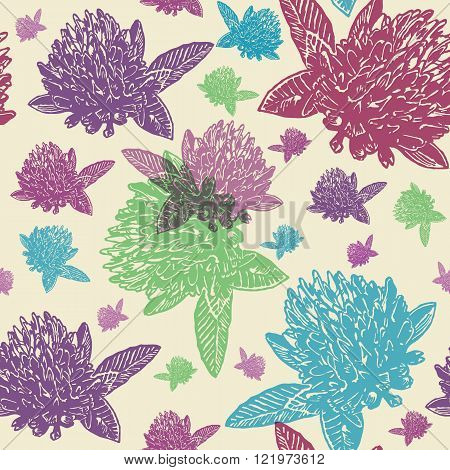 Vintage floral seamless pattern with engraved colourful clovers on beige background