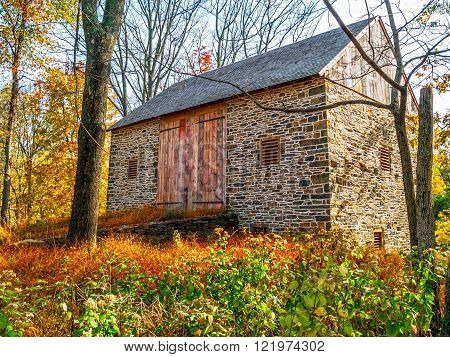 An old stone barn in this meadow in historic Bucks County Pennsylvania.