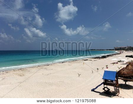 The otherwise packed Cancun Beach on the Caribbean coast is empty due to abnormal amounts of seaweed.