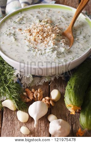 Bulgarian Soup Tarator Close Up In A Bowl And Ingredients. Vertical