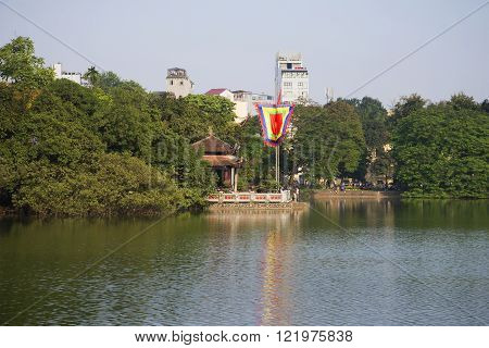 HANOI, VIETNAM - DECEMBER 13, 2015: Jade Temple. Sword Lake. The historic landmark of the city of Hanoi