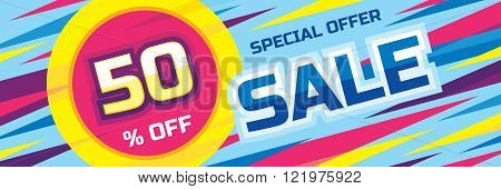 Sale abstract vector origami horizontal banner - special offer 50% off. Sale vector banner. Sale abstract background. Super big sale design layout. Sale banner template.