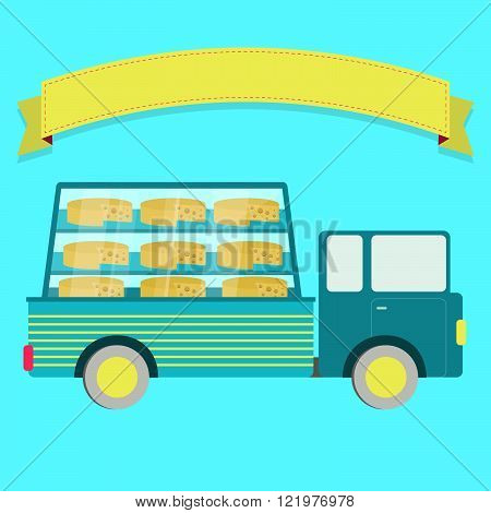 Truck carrying cheese in a glass box. Swiss cheese or Emmental. Blank ribbon for insert text.