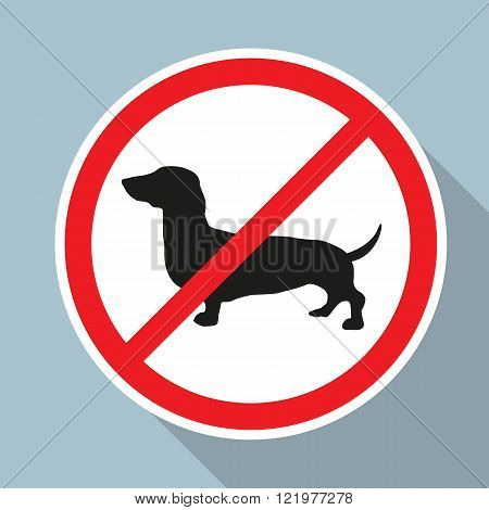 No Dogs allowed sign on blue background. Vector EPS10.