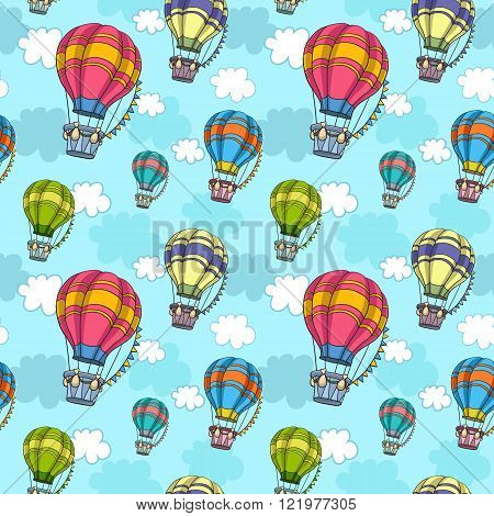 Vector seamless pattern with colorful air balloon in the sky. Endless texture for wallpaper fill 