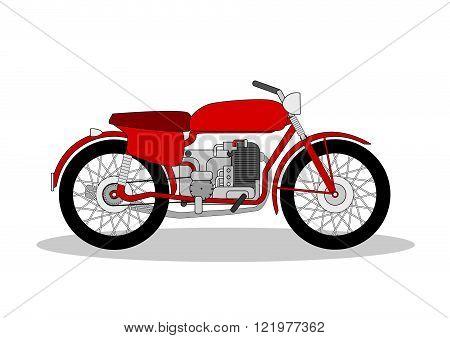 vintage motorbike illustration on a white background