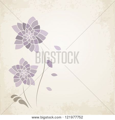Purple flower on old paper background