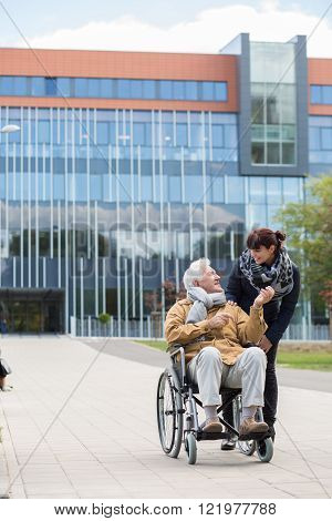 Disabled Senior With Carer