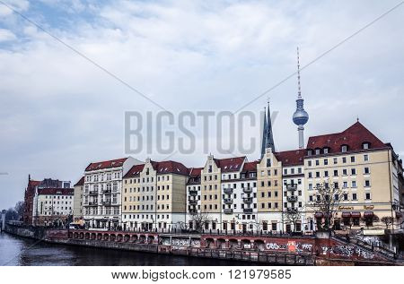 BERLIN, GERMANY- July 30: Tv tower or Fersehturm in Berlin on July 30, 2014. BERLIN, Germany.