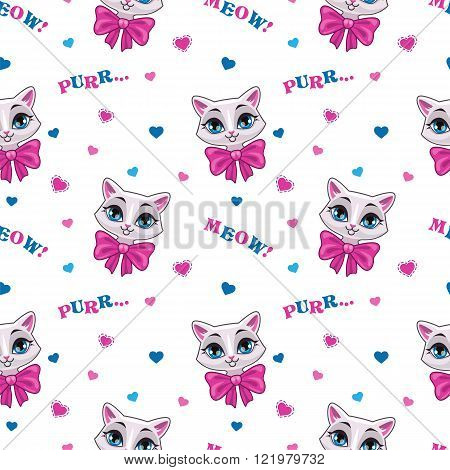 Pretty seamless pattern with cute kitty