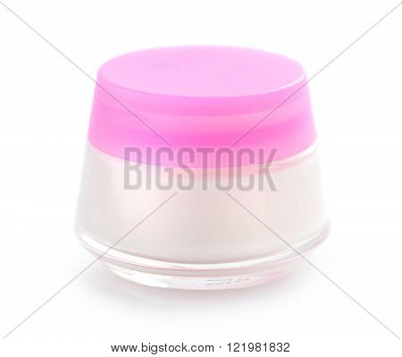 Facial cream jar on a white background. Beauty concept