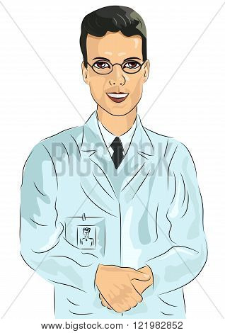 Young male doctor with glasses standing with his hands clasped