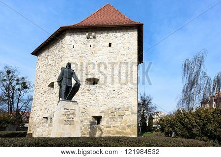 CLUJ NAPOCA, ROMANIA - MARCH 2016: Tailors bastion and Baba Novac monument, a medieval defense tower, on 06th of March in Cluj Napoca, Romania