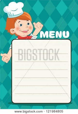 Cartoon Happy Cook Boy With A Kitchen Accessories Vector Picture. Cafe Menu Template. Cafe Menu Board. Cafe Menu Ideas. Cafe Menu Design.