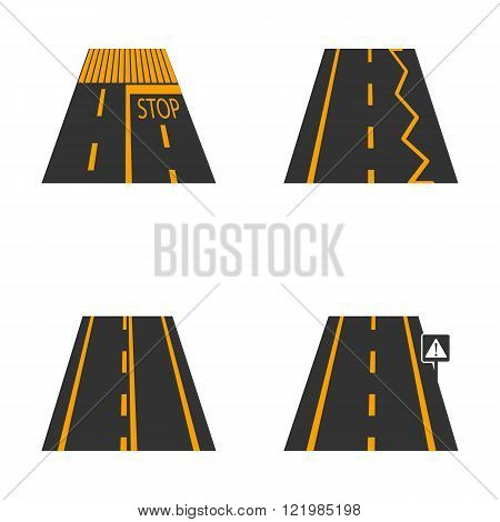 Icons of the road with yellow markings and road signs first part vector illustration.