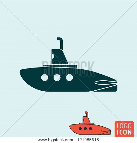 Submarine icon. Submarine symbol. Submarine with periscope icon isolated. Vector illustration