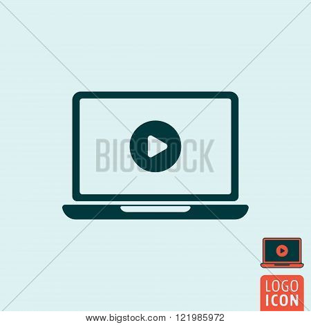 Laptop icon. Laptop symbol. Laptop with video player icon isolated. Play button icon. Vector illustration