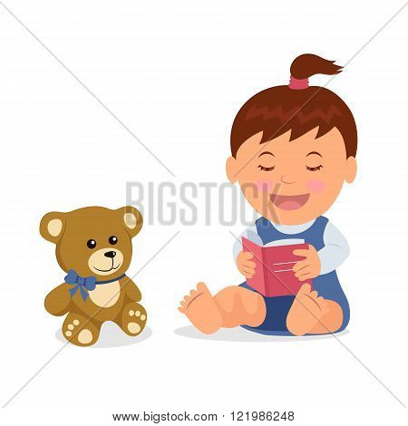 Cute girl reading a book to his teddy bear. Isolated toddler character is reading a book while sitti
