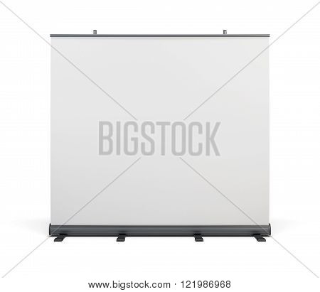 Wide Portable Advertising Banner. Roll Up Isolated On White Background. 3D Rendering