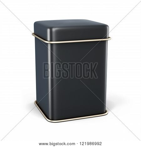 Black Metal Jar For Tea Or Coffee Isolated On White Background.