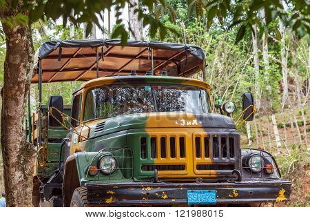 Trinidad, Cuba - March 31, 2012: Military Camouflage Zil Track