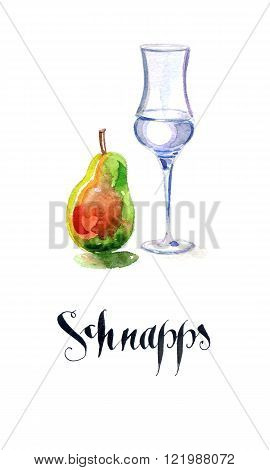 Schnapps glass filled with clear liquid and pear hand drawn watercolor - Illustration