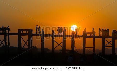 Bridge teak U-Bein in Mandalay, Myanmar (Burma)