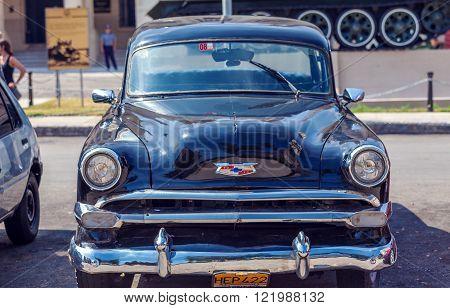 Havana, Cuba - April 1, 2012: Black Chevrolet Vintage Car