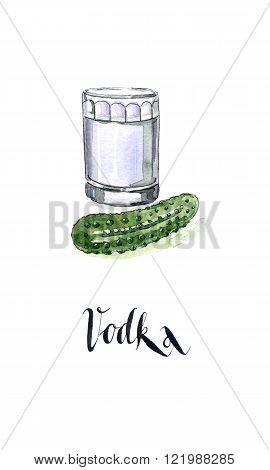 Glass of Russian vodka, pickled cucumber (slightly salted), hand drawn, watercolor - Illustration