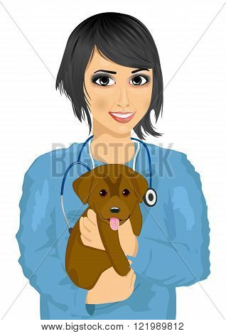 young female asian veterinarian in nusery scubs hugging cute little dog