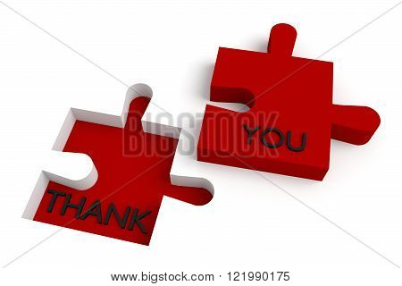 Missing puzzle piece, thank you, red jigsaw