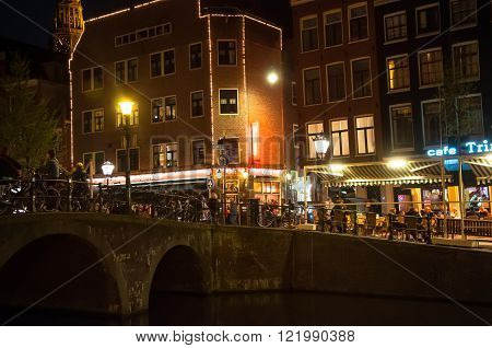 Amsterdam-May 01: Red-light district at night on May 01 2015 in Amsterdam the Netherlands.