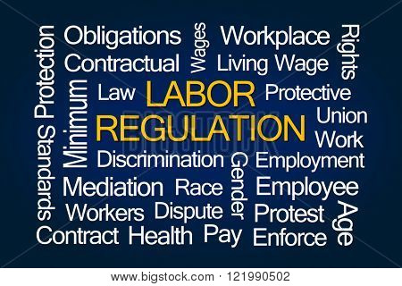 Labor Regulation Word Cloud on Blue Background