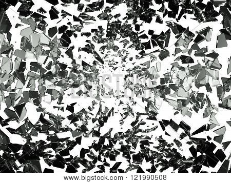 Pieces Of Splitted Or Shatteres Glass On White