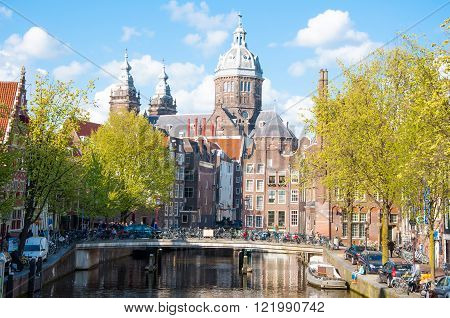 Amsterdam-April 30: Red light district the Church of St. Nicholas is visible in the background on April 302015 the Netherlands.