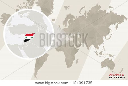 Zoom On Syria Map And Flag. World Map.