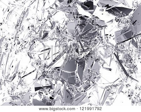 Many Pieces Of Broken And Shattered Glass