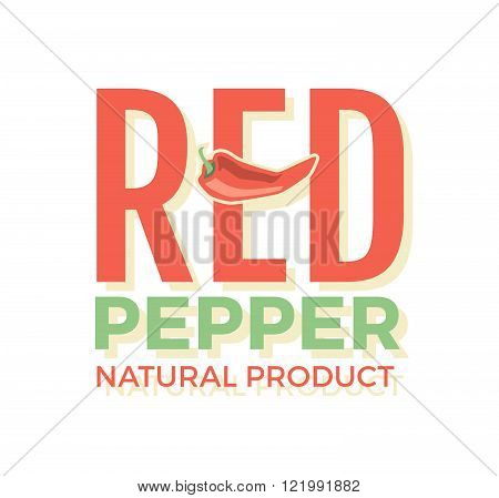 Red logo with word Red pepper natural product , design elements chili pepper at a white background.
