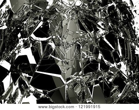 Pieces Of Broken Shattered Black Glass Isolated On White