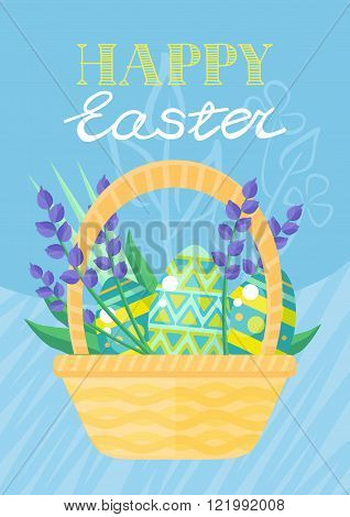 Happy Easter Holiday Card Design Flat