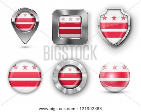 USA State Flag Badges