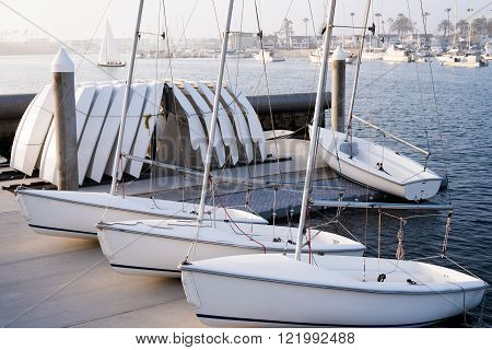 Sail boats docked in the Newport Beach Marina.