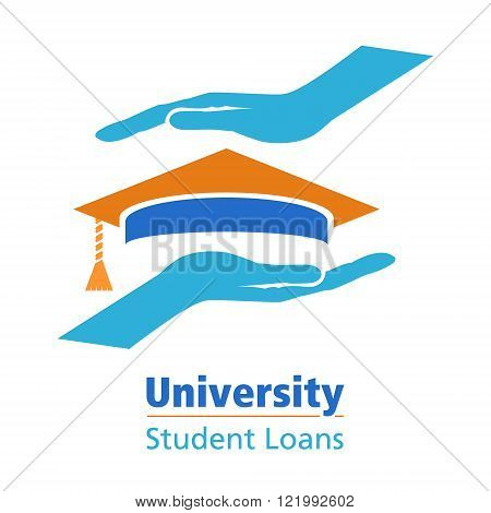 Graduate Hat in Caring Hands educational icon template. Student loan financial aid money saving plan for high education concept. Sample text. Layered editable