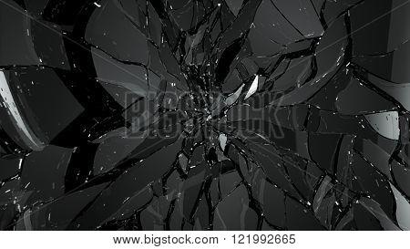 Demolished Or Splitted Glass On Black