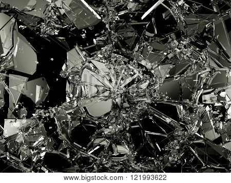 Pieces Of Destructed Shattered Glass On Black