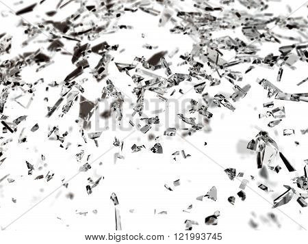 Pieces Of Shattered Or Cracked Glass With Shallow Dof