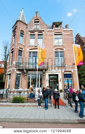 AMSTERDAM-APRIL 30: The Diamond Museum Amsterdam people are going to visit the museum on April 302015. The Diamant Museum is a diamond-themed museum located in the city's museum quarter.