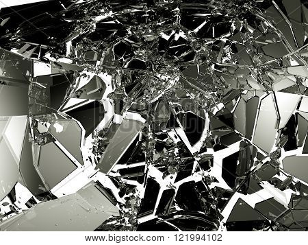 Sharp Pieces Of Shattered Black Glass On White
