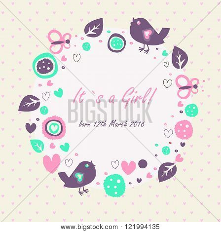 Baby girl announcement banner with cute birds butterflies hearts leaves and abstract elements