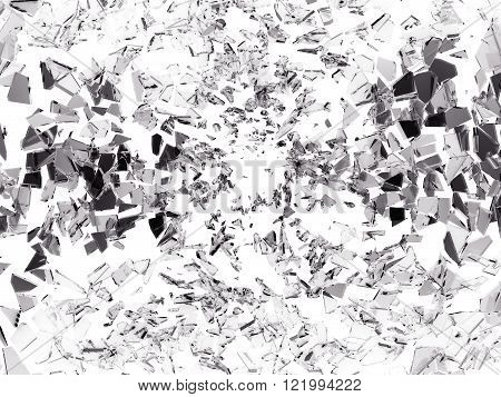 Shattered Pieces Of Glass On White